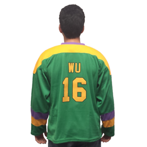 Ambitieux Ken Wu #16 Mighty Canards Film Hockey Jersey Kenny Costume D2 Uniforme Pull