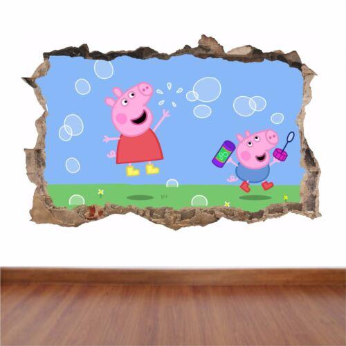 Pepper Pig agujero en la pared Pegatina Calcomanía Niños a todo color