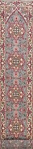 Geometric-Heriz-Oriental-Runner-Rug-Wool-Hand-knotted-Palace-Size-Carpet-3x19-ft