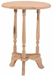 Unfinished Solid Wood 16 Quot Round End Table Small Plant