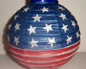 4th Of July Patriotic Round Paper Lanterns Battery