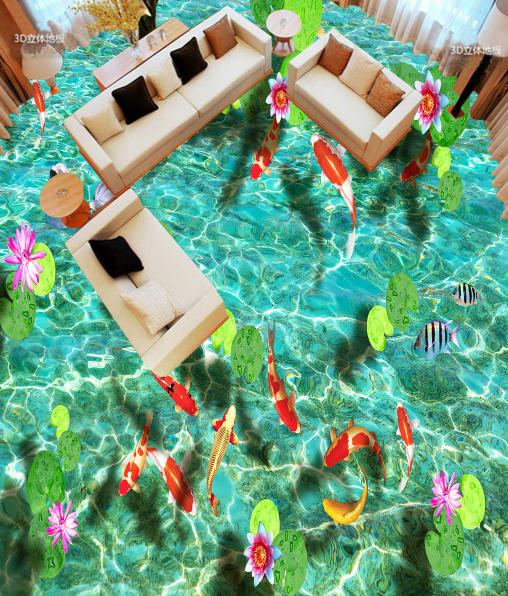 3D Grün Water Koi Pond 78 Floor WallPaper Murals Wall Print Decal AJ WALLPAPER