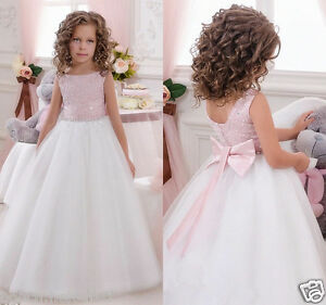 c96cd69e4 Blush Lace Tulle Flower Girl Dress Wedding Easter Junior Bridesmaid ...