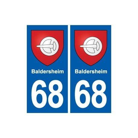 68 Baldersheim blason autocollant plaque stickers ville arrondis