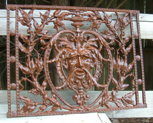 GREEN MAN GRATE Iron Cast  Wrought Crest KING NEPTUNE