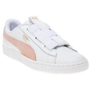 New Damenschuhe Puma Weiß Basket Maze Leder Trainers Court Lace  Up   Lace   7d6b03