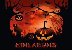 034-NACHTS-AUF-DEM-FRIEDHOF-034-Gruseliges-Einladungskarten-Set-fuer-Halloween-etc