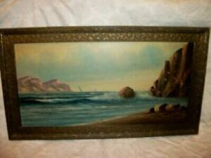 19th C. SEASCAPE OIL PAINTING FRENCH FARMHOUSE LATE 1890s. PERIOD DETAILED FRAME