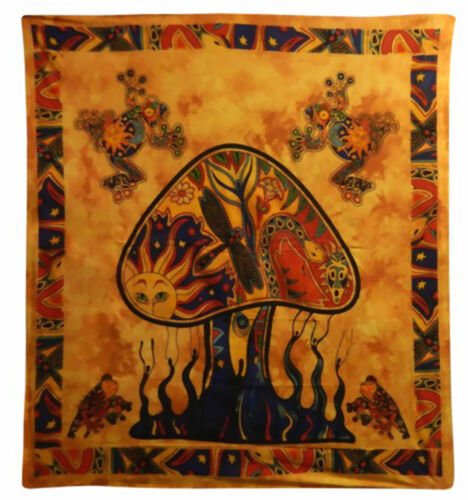 Dekotuch Bettüberwurf XXL 200 x 230 cm Wandbehang Mushroom Tagesdecke
