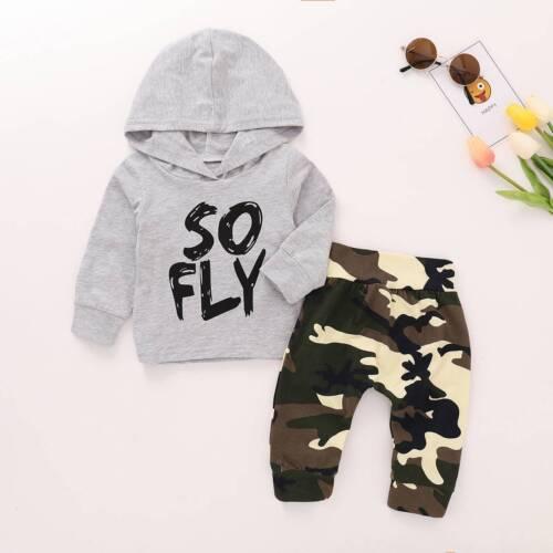 Baby Boys Sweatshirt Hooded Tops Camo Pants Set Autumn Outfits Tracksuit UK