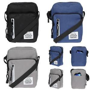 Kleine-Herren-Damen-Umhaengetasche-Schultertasche-Schwarz-Crossover-Tasche