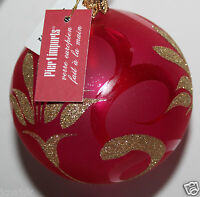 Pier 1 Imports 3 Clear Pink Glass Christmas Ornament W/ Glitter Detail
