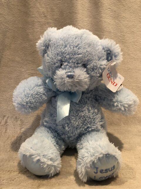 Gund Blue Plush Jesus Loves Me Teddy Bear Baby Shower Nursery