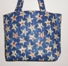 Handmade 4th of July Red White Blue Stars Tote Bag Purse