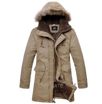 Winter Men's Long Coat Hooded Fur Collar Top Warm Jacket Parka Thicken Outerwear