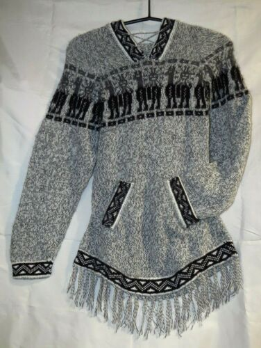 Pullover Alpakawolle Strick grau Lamas Kapuze Handarbeit Peru UNISEX Gr M