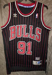 Details about 100% Authentic Dennis Rodman Adidas Chicago Bulls Away Jersey Black Sz M 95-96