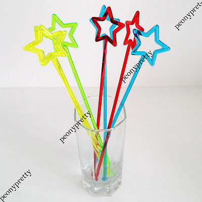 Colorful hollow star drink stirrer cocktail swizzle stir stick party bar wedding