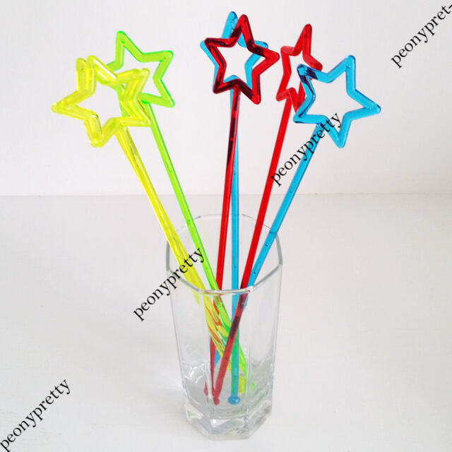 Colorful hollow star drink stirrer cocktail swizzle stir stick party bar wedding