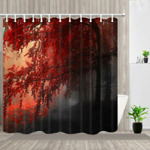 Nature Shower Curtain Red Forest Decor