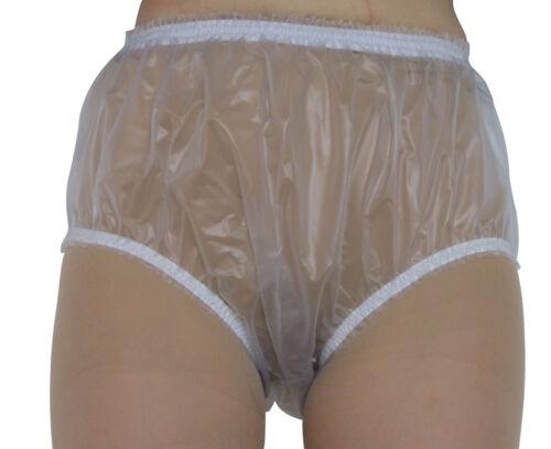 PVC Plastic Pants Panties Knickers 4 Sz Vinyl Briefs Baggy SEMI CLEAR Adult Baby