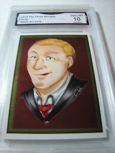 CURLY HOWARD 2015 CHRONICLES OF THE THREE 3 STOOGES FOIL ART GRADED 10 C