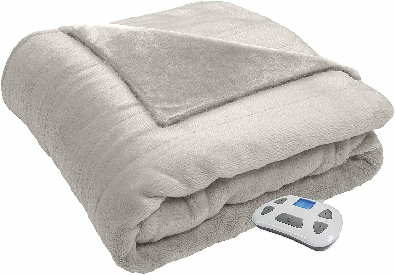 Serta Silky Plush Electric Heated Warming Throw Blanket Houndstooth Black//White