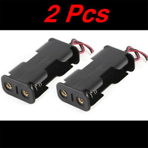 2pcs-Plastic-Black-Battery-Holder-Case-w-Wired-for-2-x-AA-Batteries