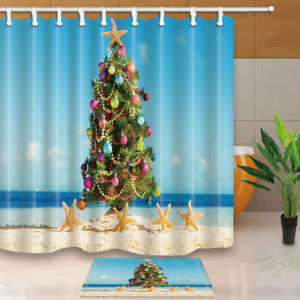 Details About Christmas Tree And Beach Shower Curtain Bathroom Waterproof Fabric 12hooks