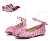 Pink Cute Ankle Strap Princess Kids Flats Girls Dress Shoes Youth Size 13