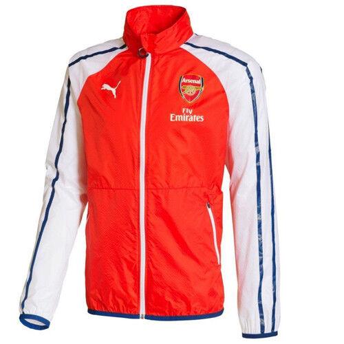 Détails sur Puma AFC Arsenal Anthem Loisirs Homme Fermeture Éclair Veste Avec Sponsor rouge 746380 01 R7L afficher le titre d'origine