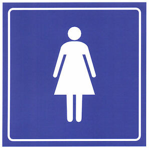 "Women's Restroom Sticker 6x 6"" Bathroom Adhesive Sign Female Woman Girls Ladies"