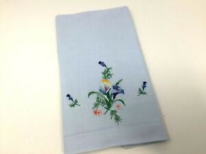 Vintage-BLUE-PILLOWCASE-w-Embroidery-amp-Cross-Stitch-Flowers