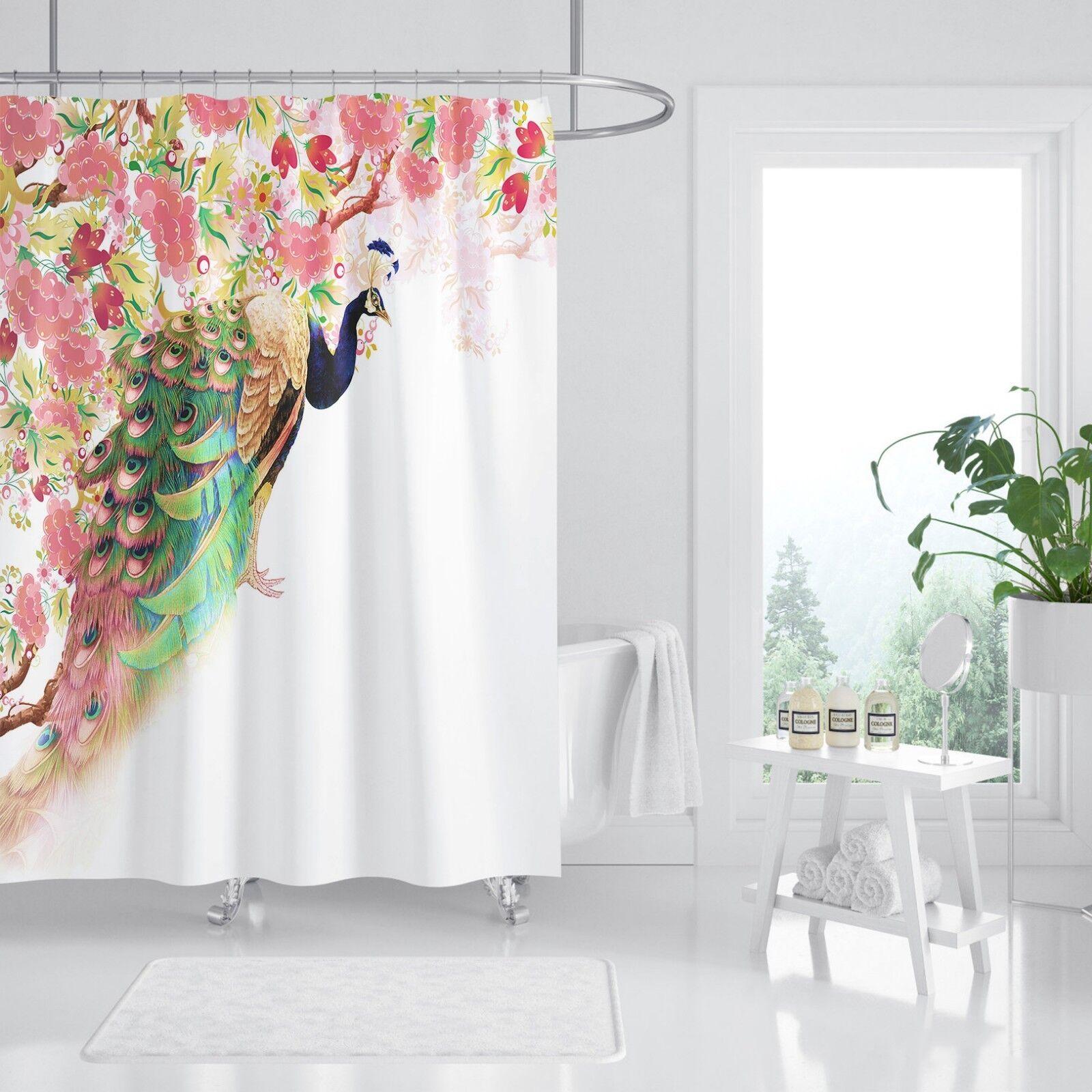 3D Paon Fleur 52 Rideau de Douche Imperméable Fibre Salle De Bain Windows Toilette