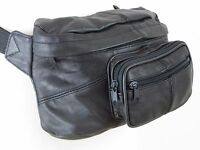 Leather Large Oversized Waist Bag Fanny Pack Hip Pouch Black
