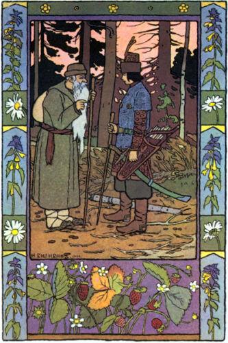 Bilibin Russian Folk Art Print Ivan Meets Old Man