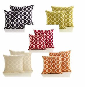 Details About Filled Chenille Cushion Covers Circle Design Sofa Cushions 2 Sizes 5 Colours