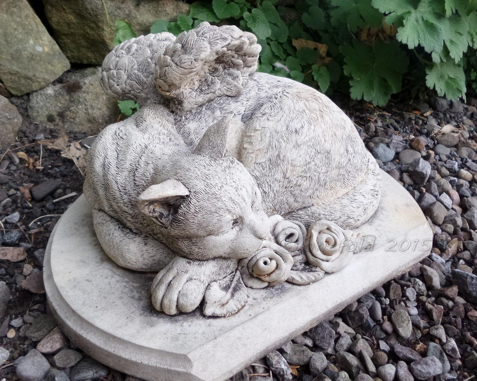 CAT Memoriale Tomba PENNARELLO CAST a Mano Decorazione Giardino Pietra Statua ⧫ ONEFOLD-UK