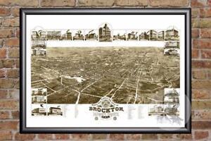 Vintage-Brockton-MA-Map-1882-Historic-Massachusetts-Art-Victorian-Industrial
