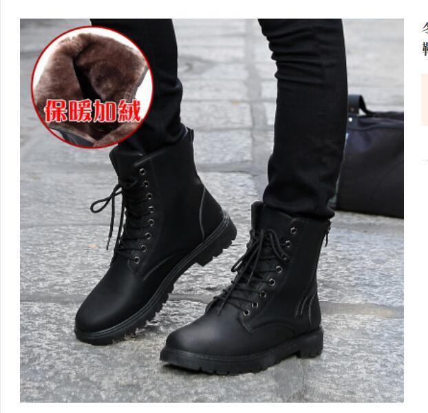 Mens Lace Up Warm Lined Ankle Boots Military Combat Motorcycle shoes Fashion