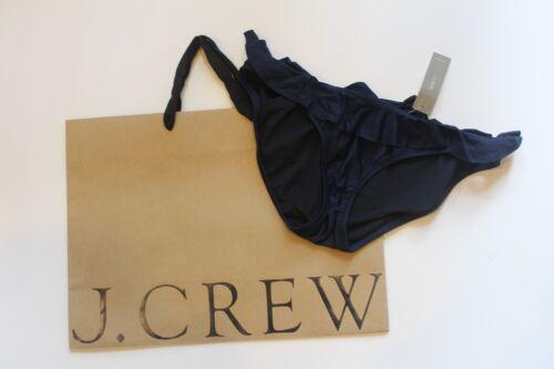 NWT J Crew Ruffle Hipster Bikini Bottom in NAVY Sz Small G1724