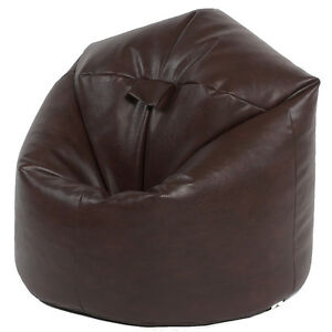 xl filled faux leather beanbags adult bean bag beanbag chair brown. Black Bedroom Furniture Sets. Home Design Ideas