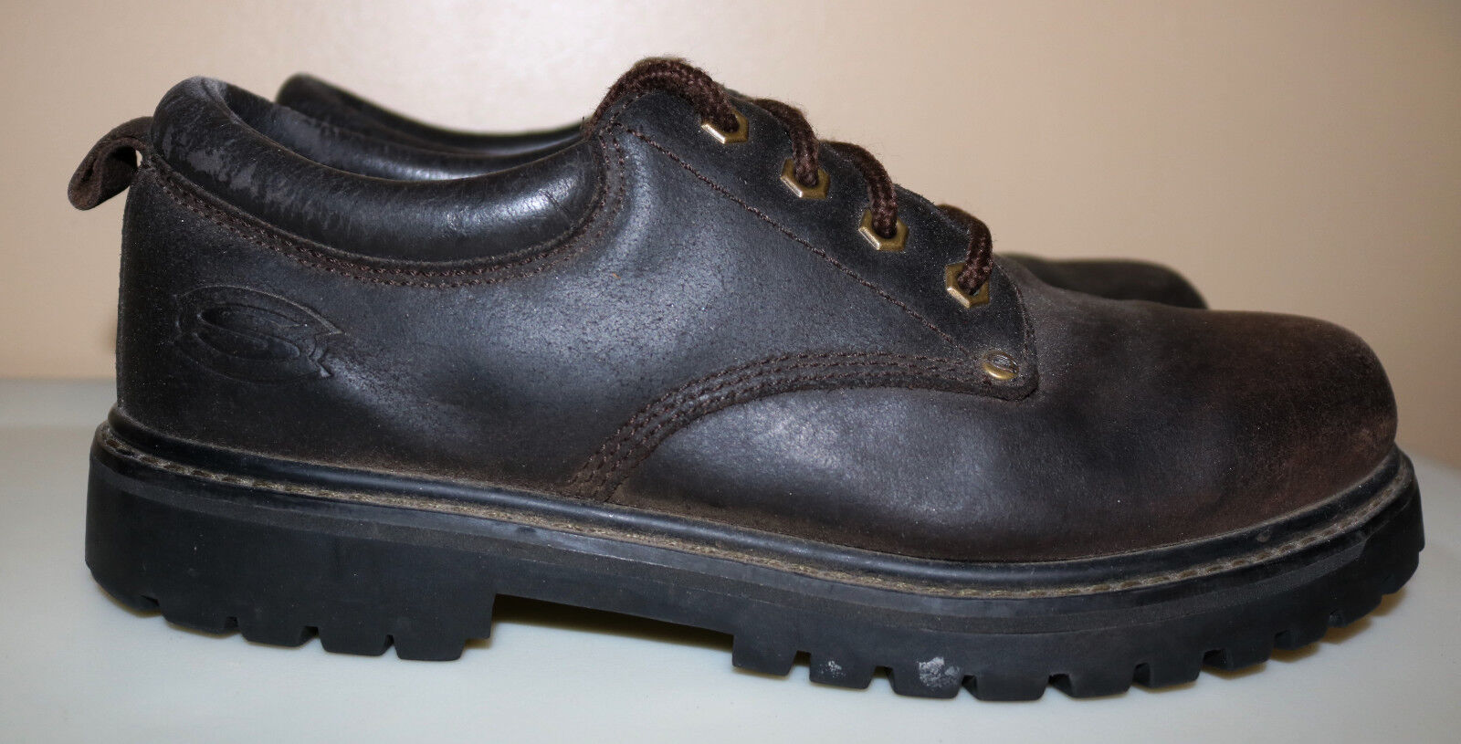 Skechers USA Men's Brown Alley Cat Casual Oxford Work Utility shoes Size 9