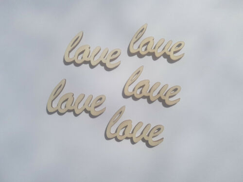 Love 10 x Mini Blank Wooden Craft Shapes 38mm