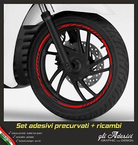 Kit-Strisce-Adesivi-Cerchio-Moto-Ruote-Stickers-Scooter-SH-125-150-300-ROSSO