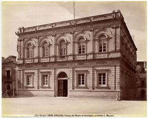 Siracusa Palazzo Museo archeologico Foto originale all'albumina Brogi 1890c L878