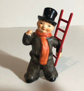 Vintage GOEBEL West Germany CHIMNEY SWEEP ceramic figurine w/ red ladder