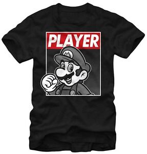 Nintendo-Super-Mario-Player-Hero-Black-Men-039-s-Graphic-T-shirt-New
