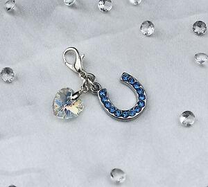 Something Blue Crystal Horse Shoe /& Heart Bride Garter// Bouquet// Bracelet Gift