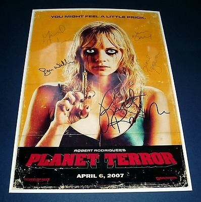 RODRIGUEZ : PLANET TERROR CAST x5 PP SIGNED POSTER 12X8